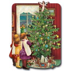 Carte Double PM 3D & ENV. Noël 'Arbre Noël & Enfants'