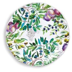 Michel Design Works melamine large round platter green olives 'Tuscan Grove'