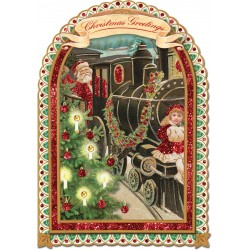 Carte double PM 3D & env. Noël 'Locomotive Père Noël'