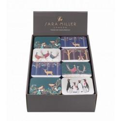 Présentoir de 32 mini boîtes rect. Sara Miller Noël 'Animals'