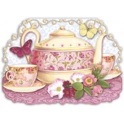 Carte double petit modèle 3D et enveloppe - Yellow Teapot