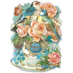 Carte double petit modèle 3D et enveloppe - Birds in Teacup