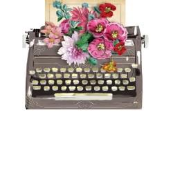 Carte double petit modèle 3D et enveloppe - Typewriter
