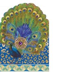 Carte double petit modèle 3D et enveloppe - Peacock Jewel Fan