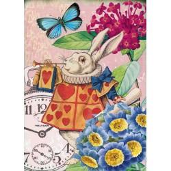 Carte double GM et enveloppe - Alice - Trumpet Rabbit