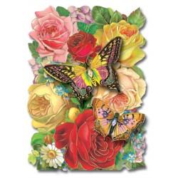 Carte double petit modèle 3 D et enveloppe - Butterfly Bouquet