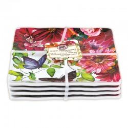 Set 4 assiettes carrées petit modèle mélamine - Sweet Floral Melody