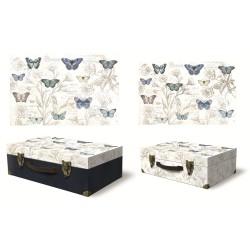 Set de 3 valises rectangulaires gigognes GM - Botanical Butterfly Gar