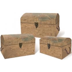 Set de 3 coffres rectangulaires gigognes GM - Antique Brown Maps