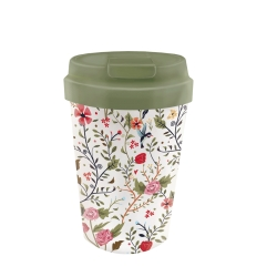 Mug de voyage 350ml en matiere vegetale Flowers - Bioloco Plant