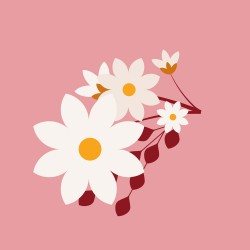 20 Serviettes 100% Bambou 33x33 cm Flowers Pink - Chic Mic