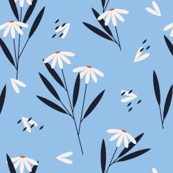 20 Serviettes 100% Bambou 33x33 cm Daisy Flowers Blue - Chic Mic