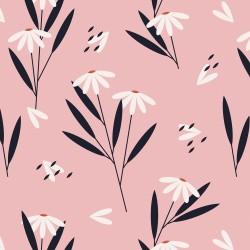 20 Serviettes 100% Bambou 33x33 cm Daisy Flowers Pink - Chic Mic