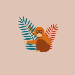 20 Serviettes 100% Bambou 33x33 cm Monkey - Chic Mic