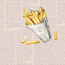 20 Serviettes 100% Bambou 33x33 cm French Fries - Chic Mic