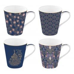 Coffret 4 mugs 300 ml en porcelaine - Peacock