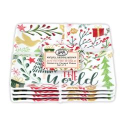 Set 4 assiettes carrées petit modèle mélamine - Joy to the World