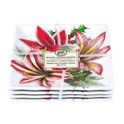 Set 4 assiettes carrées petit modèle mélamine - Merry Christmas