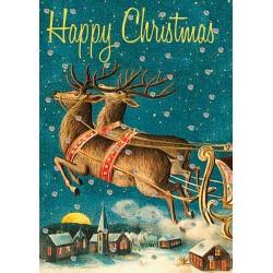 Carte double GM et enveloppe Noel - Happy Christmas