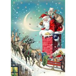 Carte double GM et enveloppe Noel - Santa in Chimney