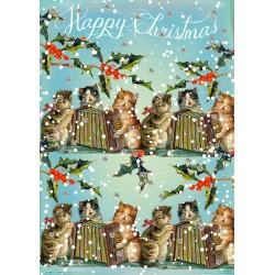 Carte double GM et enveloppe Noel - Cats Xmas Singers