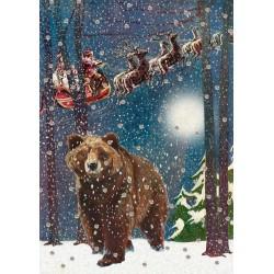 Carte double GM et enveloppe Noel - Bear & Sleigh