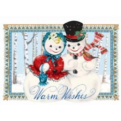 Carte double petit modèle 3D et enveloppe Noël - Mr & Mme Bonhomme
