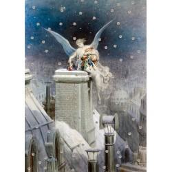 Carte double GM et enveloppe Noel - Angel Santa Claus
