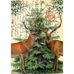 Carte double GM et enveloppe Noel - Deer & Xmas Tree