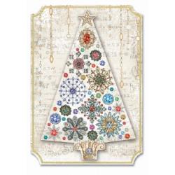 Carte double petit modèle 3D et enveloppe Noël - Broche Sapin de Noel