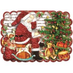 Carte double petit modèle 3D et enveloppe Noël - Jouets & Père Noël