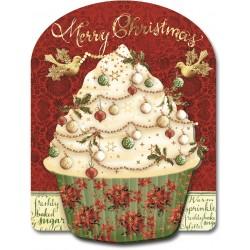 Carte double petit modèle 3D et enveloppe Noël - Cupcake