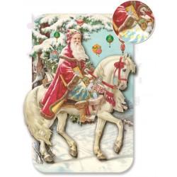 Carte double petit modèle 3D et enveloppe Noël - Pére Noel & Cheval