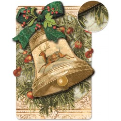 Carte double petit modèle 3D et enveloppe Noël - Cloche & Cerf