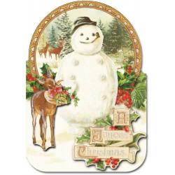 Carte double petit modèle 3D et enveloppe Noël - Bonhomme & Cerf