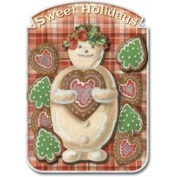 Carte double petit modèle 3D et enveloppe Noël - Biscuits de Noel