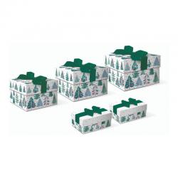 Set boîtes 3 carrées & 2 rectangulaires avec ruban - Washy Trees