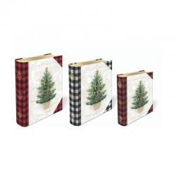 Set de 3 boîtes livres gigognes GM Noel - Buffalo Check Tree