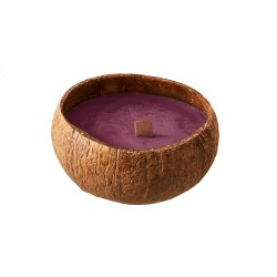Bougie naturelle dans coquille de noix coco Berry Red - Chic Mic