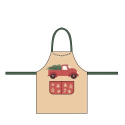 Tablier en coton biologique (enfant) Christmas Car - Chic Mic