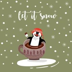 20 Serviettes 100% Bambou 33x33 cm Let it Snow - Chic Mic