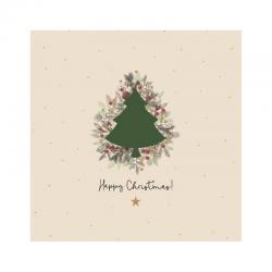 20 Serviettes 100% Bambou 33x33 cm Happy Christmas - Chic Mic