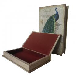 Set 2 boîtes livres en bois (2 tailles) - Peacock Blue