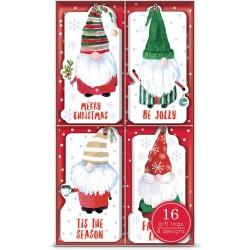 Boite 16 étiquettes cadeaux Noel (4 motifs) - Gnomes