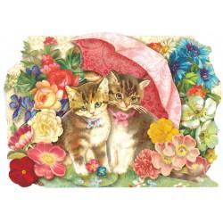 Carte Double PM 3D & ENV. 'Cats Under Umbrella'