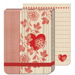 Pocket Carnet Notes (élastique rouge) 'Stripe Heart'