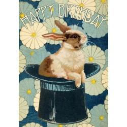 Carte double GM & env. 'HAPPY BIRTHDAY' (rabbit)