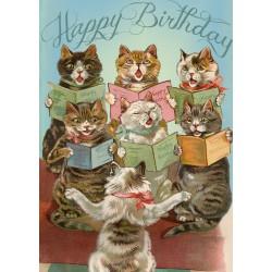 Carte double GM & env. 'HAPPY BIRTHDAY' (singer cats)