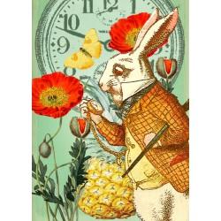 Carte double GM & env. 'ALICE' (white rabbit)