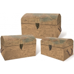 Xxl treasure chest set 3 - Antique Brown Maps